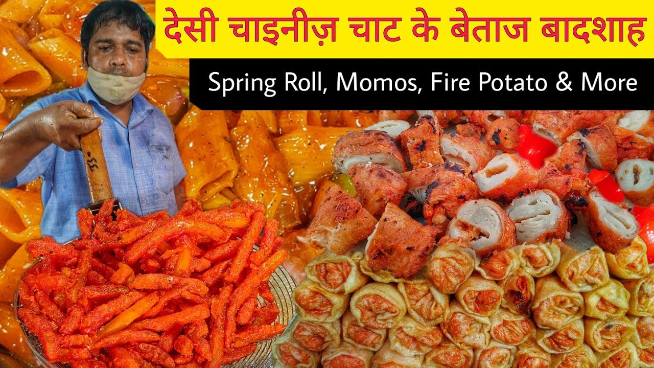 Desi Indian Chinese Food || Pasta, Chaap, Spring Roll, Fries & More || Delhi Street Food