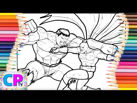 Hulk Vs Batman Coloring Pages,Unexpected Fight Between Two Superheroes,Drawing Of The Heroes