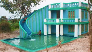 Build Modern Contemporary Mud Villa  And Design Water Slide To Beautiful Underground Swimming Pool