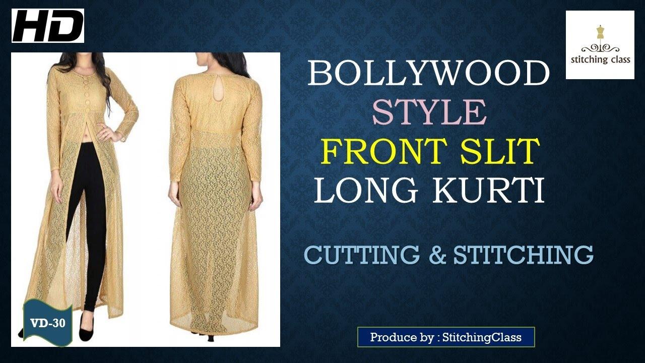 Front Slit Long Kurti Diy Cutting Amp Stitching Youtube