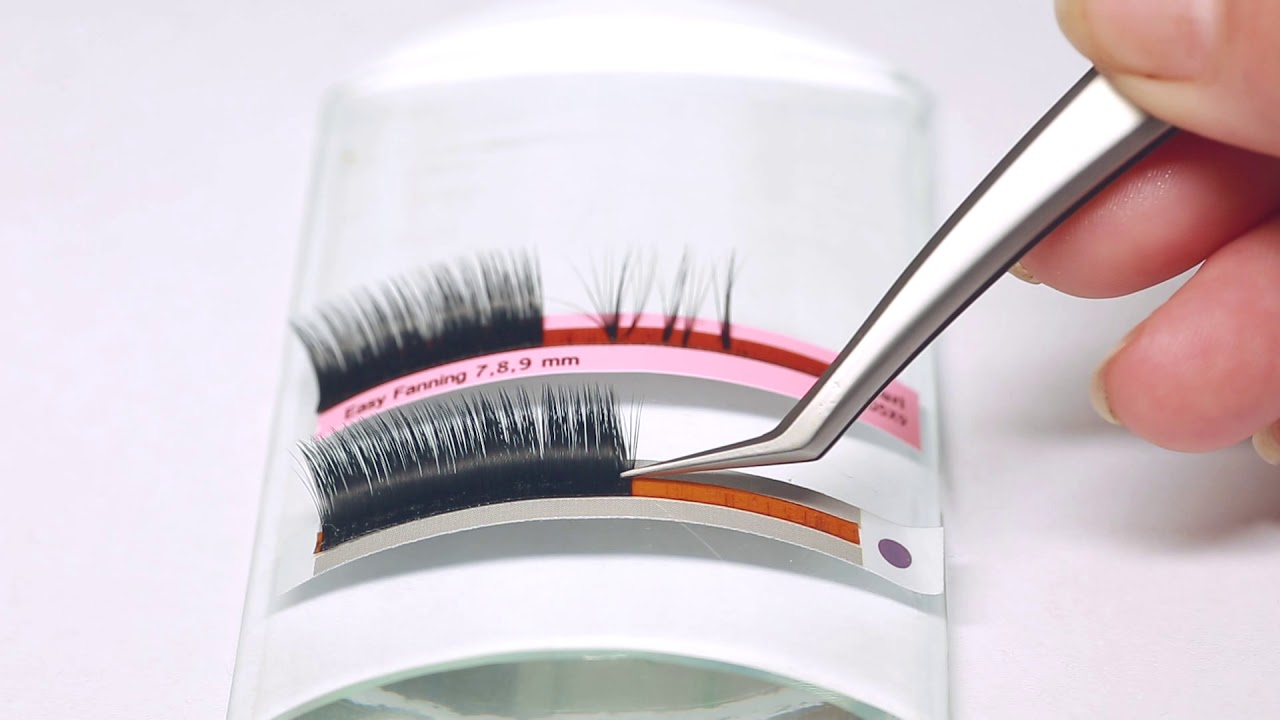 Double layer quick fan Lash factory Pre-glued Korea PBT fiber mink eyelash  extension manufacturer