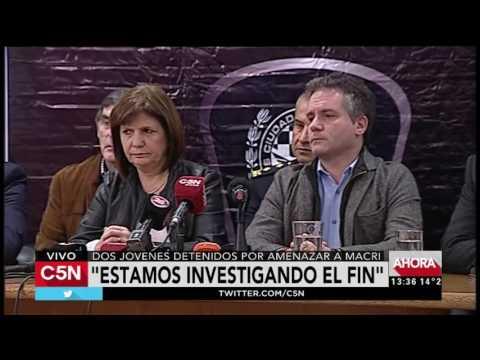 C5N - Policiales: Conferencia de Patricia Bullrich por los jovenes detenidos por amenzas a Macri