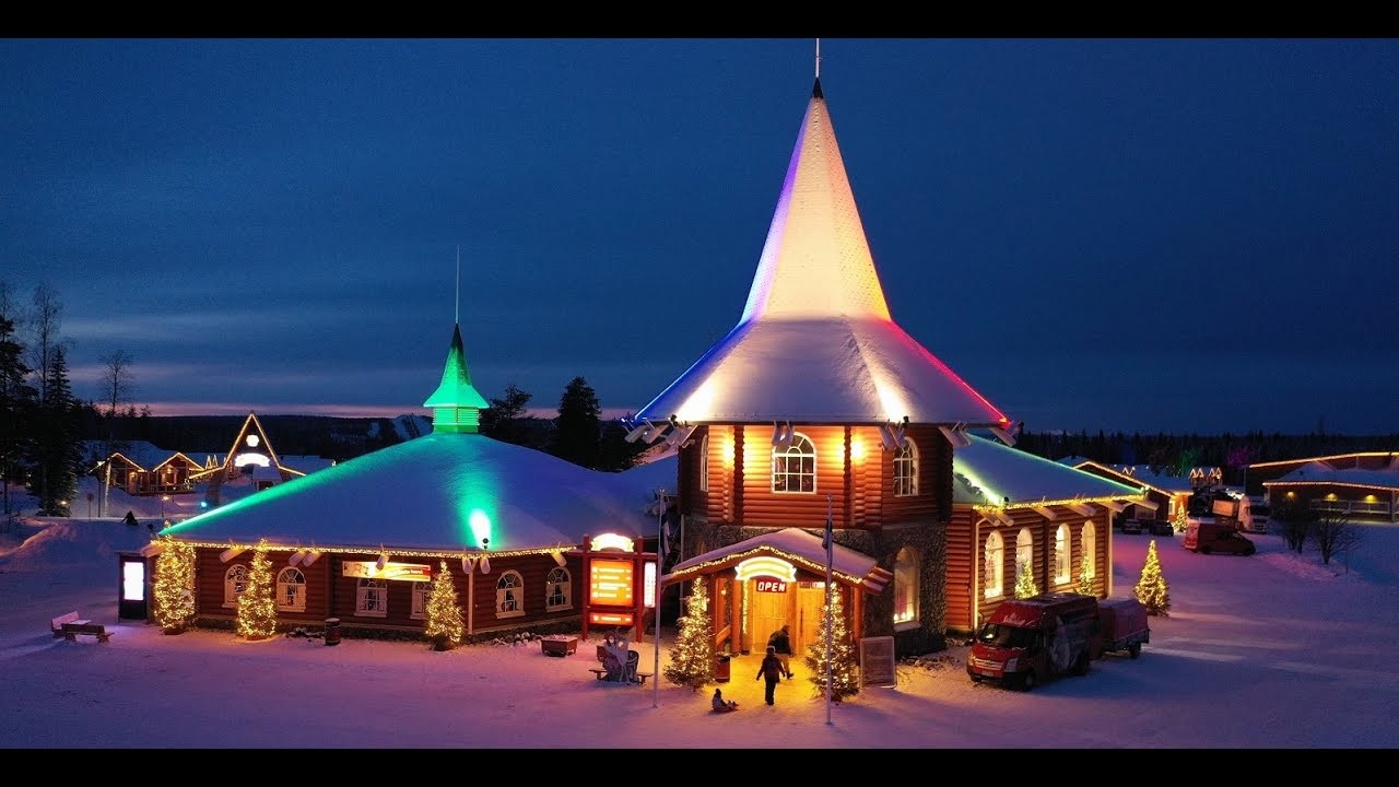 santa claus village in lapland in 4k video father christmas