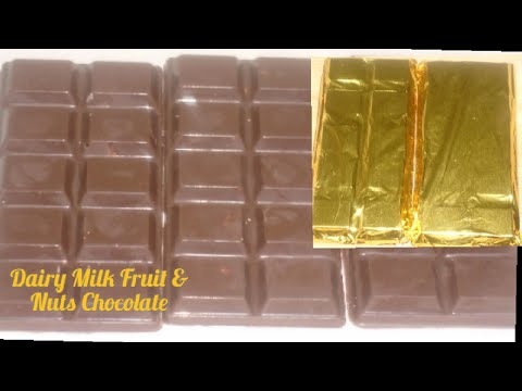 Dairy Milk Fruit & Nut Chocolate Recipe / How To Make Homemade Chocolate