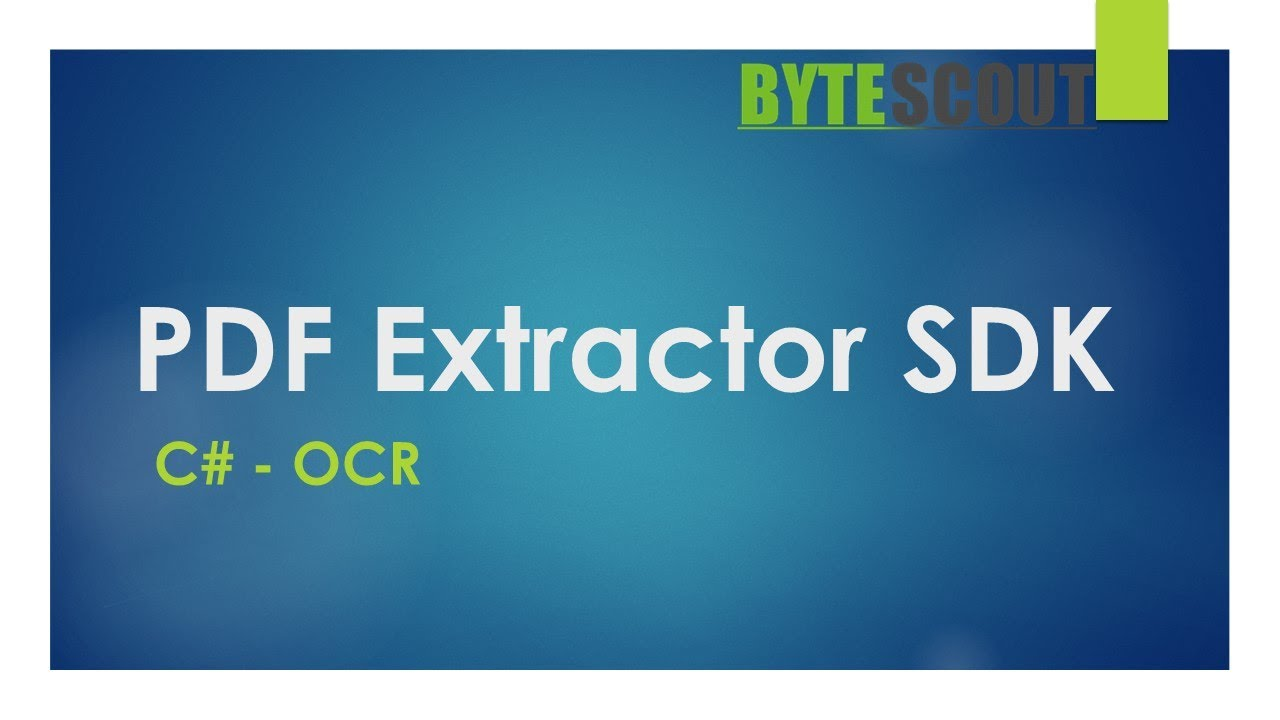 PDF Extractor SDK - C# - OCR (Optical Character Recognition