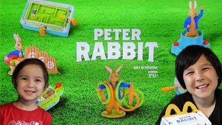 PETER RABBIT HAPPY MEAL TOYS FULL SET REVIEW McDonalds Kids Meal Games LUCAS WORLD