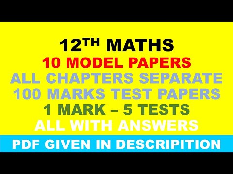12 MATHS MODEL PAPERS , CHAPTERS TEST