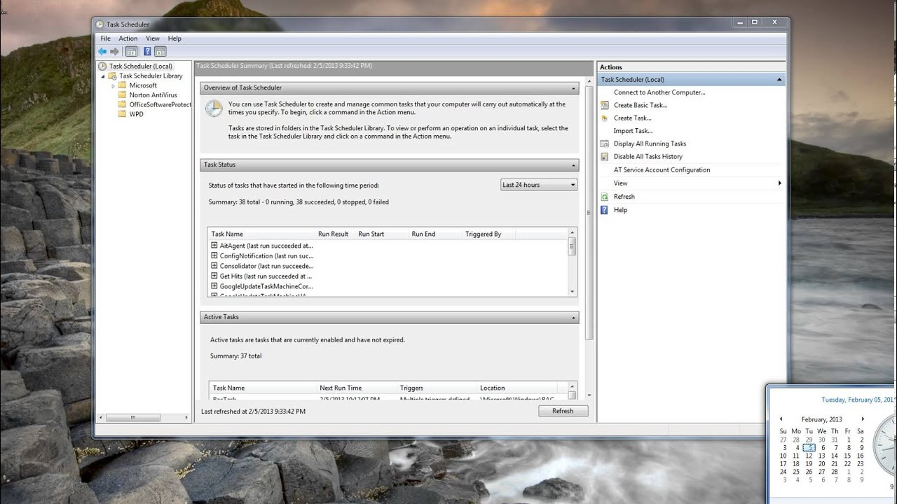 Windows Task Scheduler, Launch a Web page