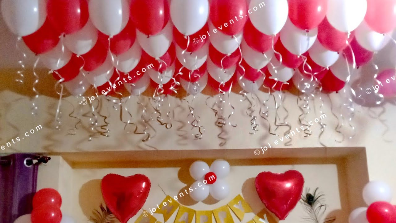 Room Decoration For Birthday Surprise At Home Balloon Decoration Anniversary Surprise Ideas Youtube