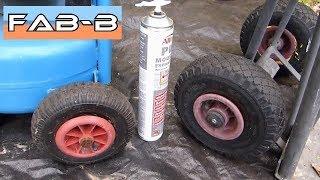 Réparation de pneus avec mousse expansive