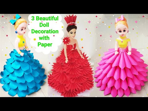 How to Make 3 Beautiful Doll Dresses From Paper/ DIY Doll De