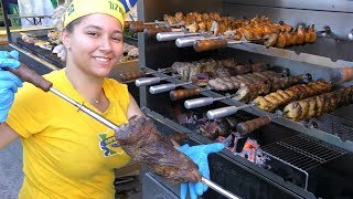 Brazil Street Food. Roasting Huge Churrasco and Meat on Grill