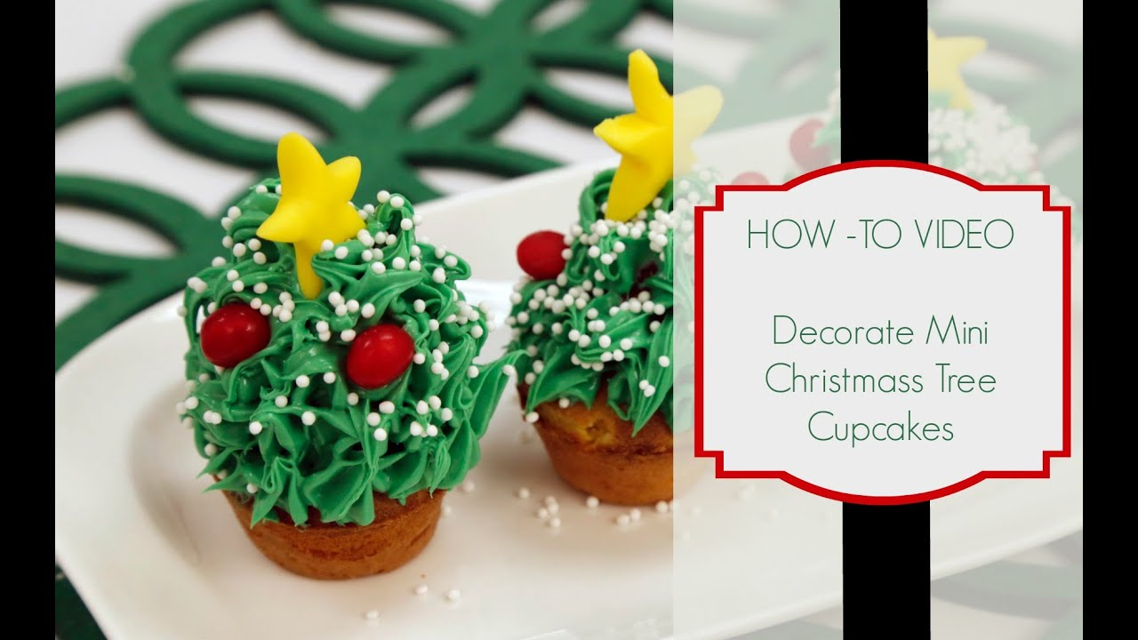 How To Pipe Mini Christmas Tree Cupcakes Youtube