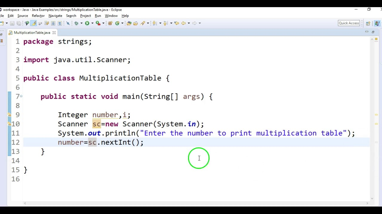 Write a java program to print multiplication table in java youtube write a java program to print multiplication table in java gamestrikefo Choice Image