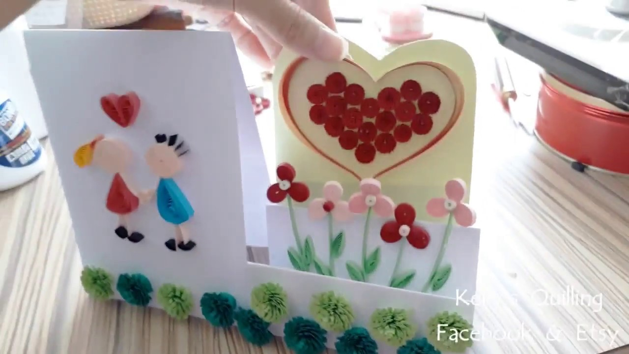 Quilling Valentine's Card // Quilling standing card // quilling card design
