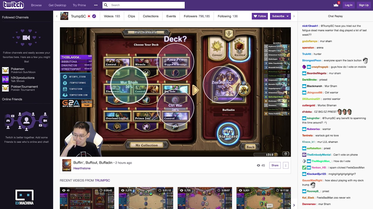 Trump using the Smart Click Maps Twitch Extension