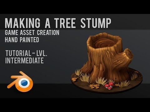 Tree Stump  |  Hand Painted  |  Tutorial  |  Game Asset  |  Blender