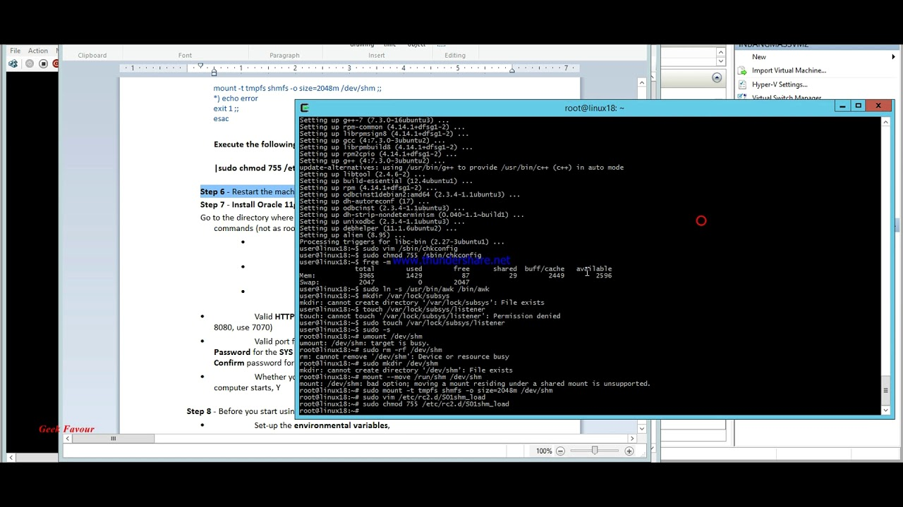 Installation of Oracle DB 11g Express on Ubuntu 18 04 (Desktop) via  terminal - Microsoft Hyper-V