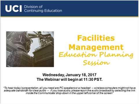 Facilities Management webinar  (1/8/2017)