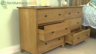 Dakar Solid Oak Wide 6 Drawer Chest From Oak Furniture Land