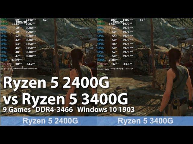 Ryzen 5 2400g Vs Ryzen 5 3400g In 9 Games Benchmark Test Comparison Vega 11 Igpu Youtube