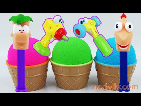 Learn Colors Toy Hammer Tools Kinder joy Kinetic Sand Ice Cream Surprise Toys Play Doh Popsicles