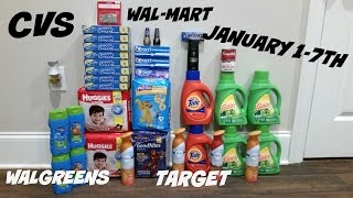 CVS COUPON DEAL HAUL WALGREENS/WALMART/TARGET!! HAPPY NEW YEAR!! 1/1-1-7