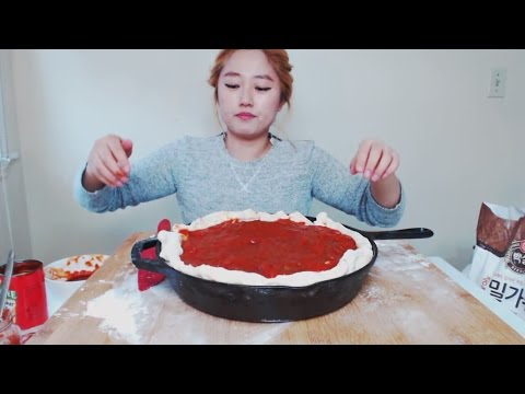 How to make Deep Dish Pizza | MUKBANG