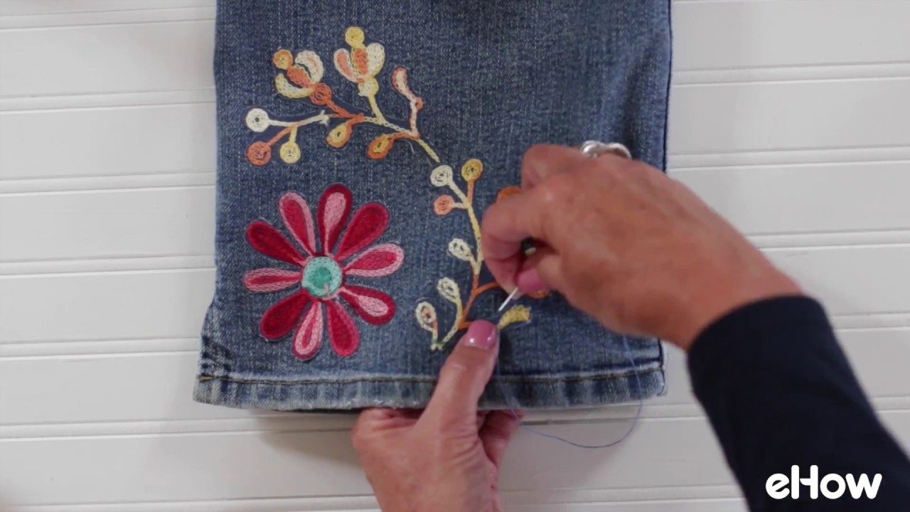 Floral embroidery for jeans tutorial youtube