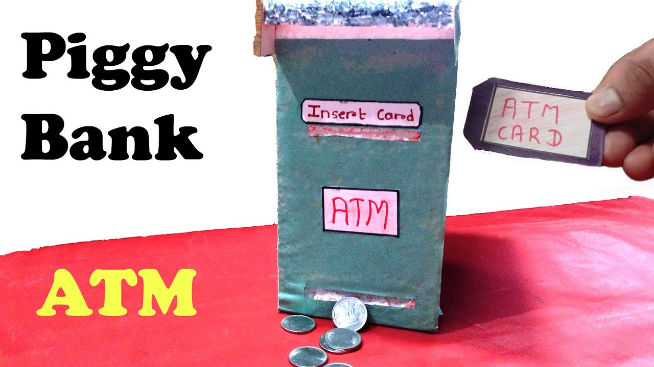 How to make piggy bank atm machine at home diy for for How to make a simple piggy bank