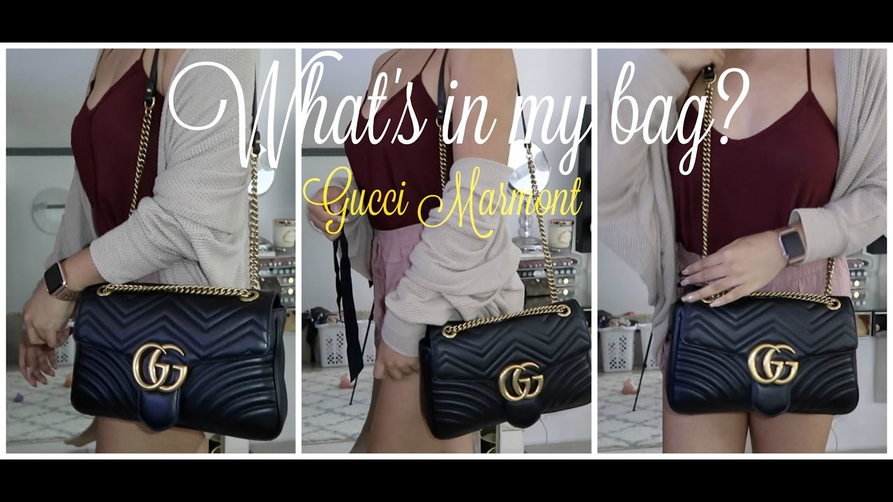 3781213e1 What's in my Bag | GUCCI Marmont matelassé - YouTube