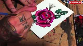 Speed Painting Watercolor: Drawing and Painting a Flower