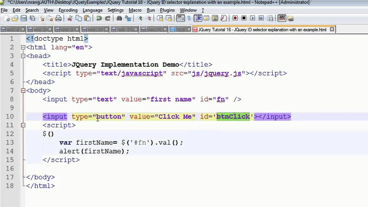 JQuery Tutorial 16  JQuery ID selector with an example