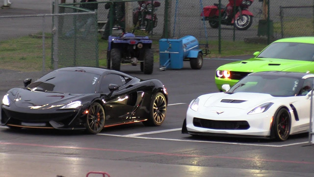McLaren 570S vs Z06 Corvette - 1/4 mile drag race - YouTube