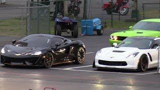 McLaren 570S vs Z06 Corvette - 1/4 mile drag race