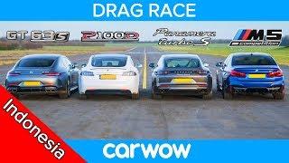 Tesla Model S v AMG GT 4 v BMW M5 v Porsche Panamera Turbo S - DRAG RACE, ROLLING RACE & TES REM