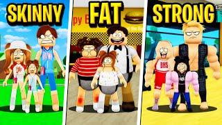 FAT FAMILY vs SKINNY FAMILY vs STRONG FAMILY in Roblox BROOKHAVEN RP!! (Pt 1)