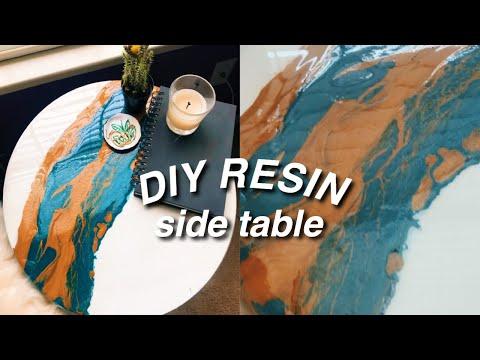 DIY resin acrylic pour side table