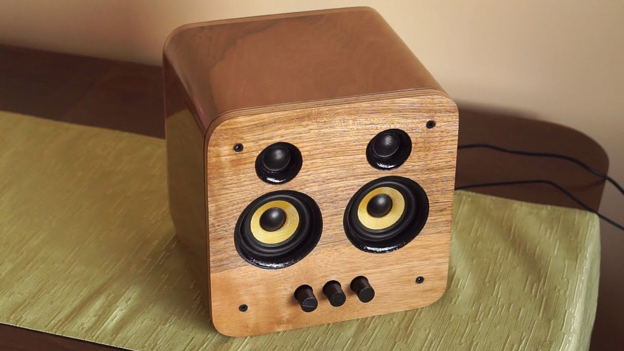 Making a DIY speaker out of wood and old PC speakers - YouTube