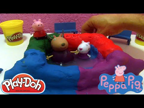 Peppa pig playground swimming pool play doh peppa pig suzy sheep danny dog madame gazelle youtube for Peppa pig swimming pool english full episode