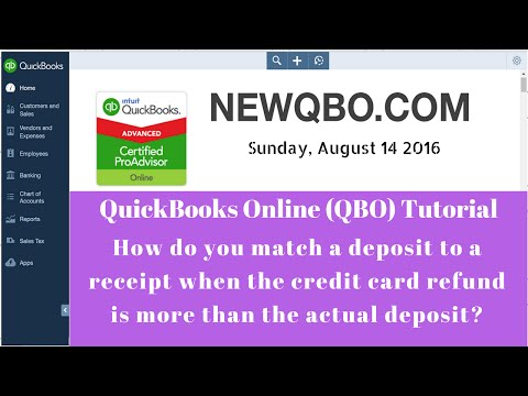 QuickBooks Online QBO - how to match negative credit card daily sales receipts | refund deposit