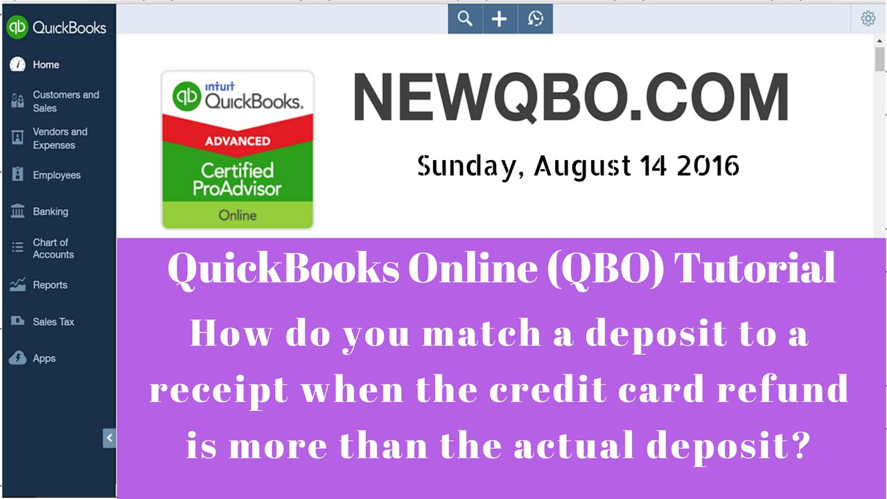 quickbooks online qbo how to match negative credit card daily