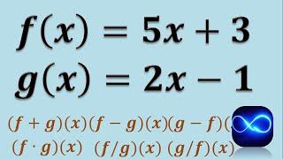 Operaciones con funciones (Suma, resta, multiplicación y división) (Ejemplo 1)