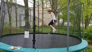 Stephanie on the new trampoline