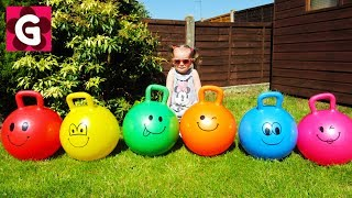 Learn Colors with Skippy Balls for Children, Toddlers, Babies / Little Baby Playing and Jumping