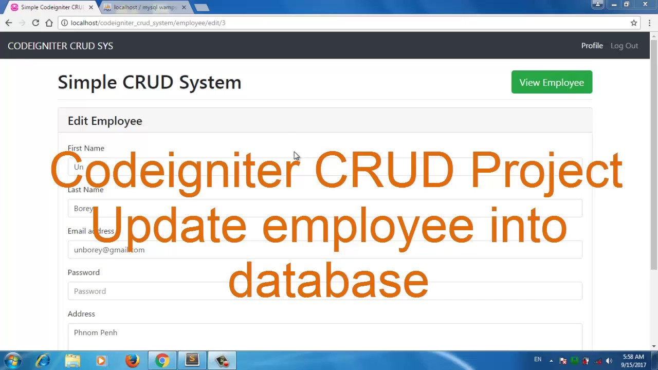 Codeigniter CRUD Project bootstrap 4 update employee into database part 10
