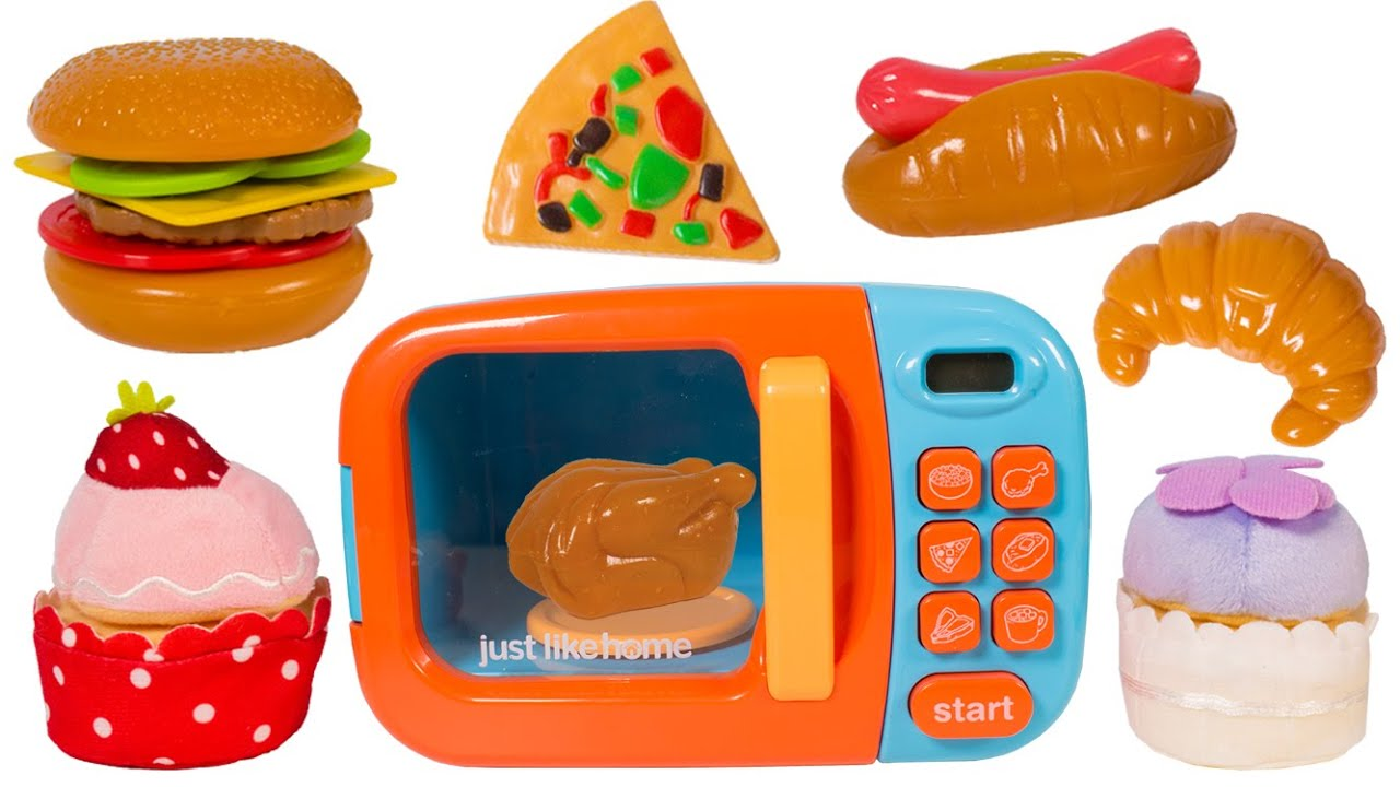 just like home microwave oven toy kitchen set cooking playset toy