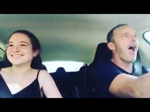 Clark Gregg and Daughter Hanghout at their Car Jamming