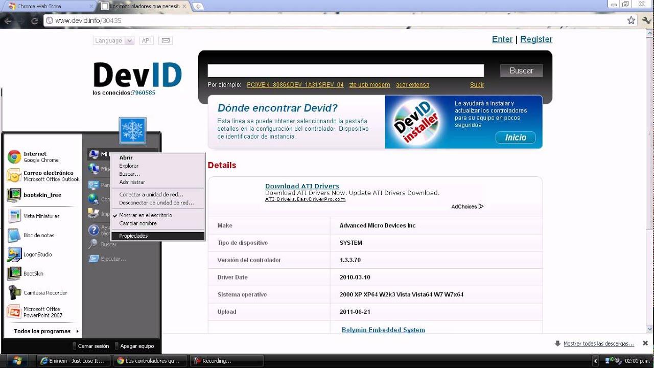 Como instalar drivers de windows 7 en windows xp