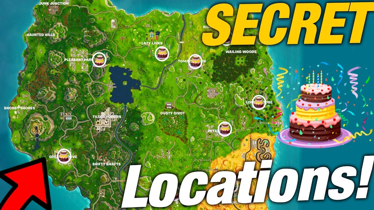 ALL SECRET BIRTHDAY CAKE LOCATIONS IN FORTNITE! | 1 YEAR ...